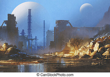 bâtiments, industriel, abandonnés, manière
