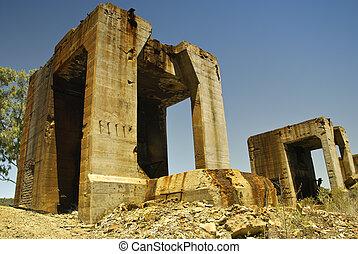 bâtiments, industriel, abandonnés, mine