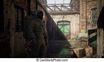 bâtiments, industriel, astronaute, perdu, usine, abandonnés, vieux