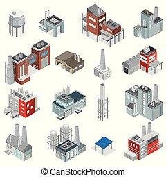 bâtiments, industriel, ensemble, isométrique