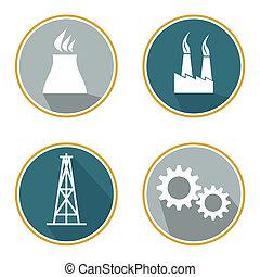 bâtiments, industriel, ensemble, usine, signe