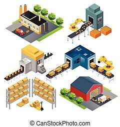 bâtiments, industriel, isométrique, usine