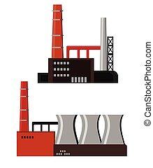 bâtiments, industriel, usine, icône
