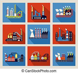 bâtiments, industriel, usine, raffineries