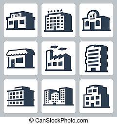 bâtiments, isométrique, icônes, ensemble, style, vecteur, #1