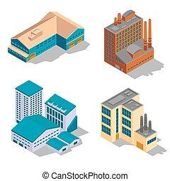 bâtiments, isométrique, industriel, ensemble, usine