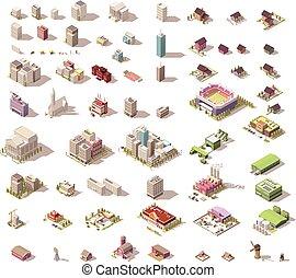 bâtiments, isométrique, poly, maisons, vecteur, bas