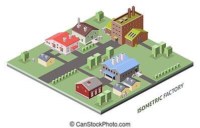 bâtiments, isométrique, usine