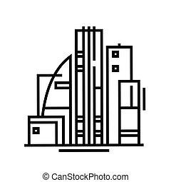 bâtiments, linéaire, concept, contour, bureau, icône, symbole., signe, vecteur, ligne, illustration