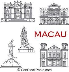 bâtiments, macau, façades, architecture, repère, ligne