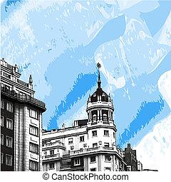 bâtiments,  Madrid, devants, historique, dentelle