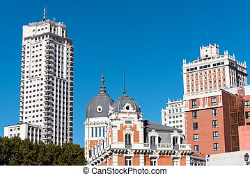 bâtiments, madrid, espagne, typique