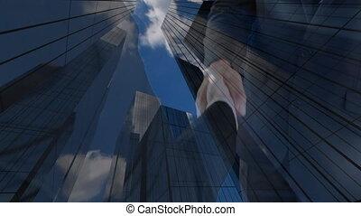 bâtiments, mains, fond, hommes affaires, bureau, secousse, moderne
