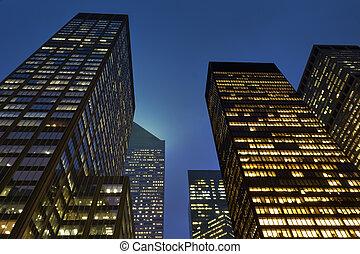 bâtiments, moderne, bureau, nuit