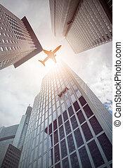 bâtiments, moderne, bureau, sur, voler, avion
