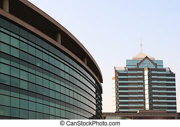 bâtiments, moderne, commercial