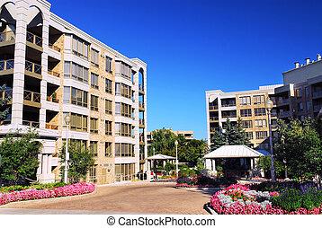 bâtiments, moderne, condominium