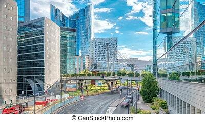 bâtiments, moderne, financier, gratte-ciel, business, paris, timelapse, défense, highrise, district