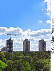 bâtiments, multi-storey, trois