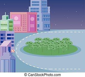 bâtiments, nature, parc, scène, nuit, cityscape