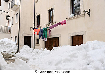 bâtiments, neige