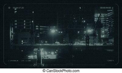 bâtiments, nuit, cctv, route, entre