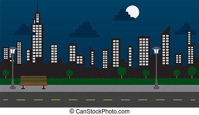 bâtiments, nuit, parc, rue