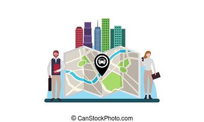 bâtiments, papier, carte, cityscape, homme affaires, scène