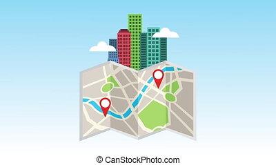 bâtiments, papier, carte, cityscape, scène