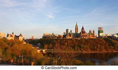 bâtiments, parlement, canada's, ottawa, élevé, colline