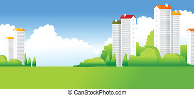 bâtiments, paysage vert
