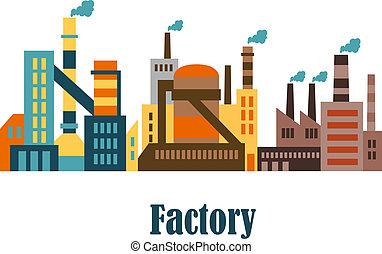 bâtiments, plat, plante, style, usine