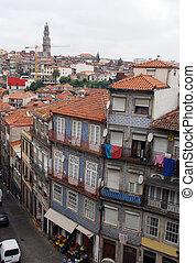bâtiments, portugal, porto, vieux, coloré