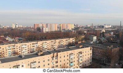 bâtiments, résidentiel, aérien, coloré
