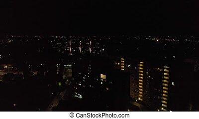 bâtiments, résidentiel, aérien, nuit