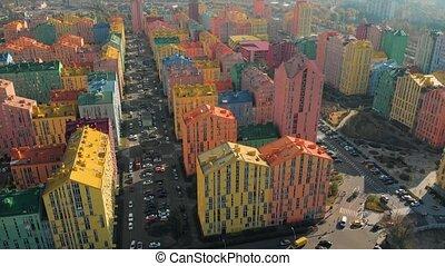 bâtiments., résidentiel, coloré, aérien, vue.