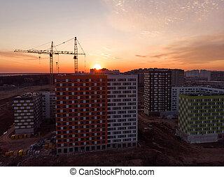 bâtiments, résidentiel, construction, coucher soleil, au-dessus, sous