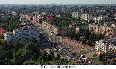bâtiments, résidentiel, vue, indépendance, avenue, belarus...