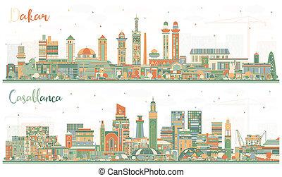 bâtiments., sénégal, couleur, maroc, horizon, dakar, ville, casablanca
