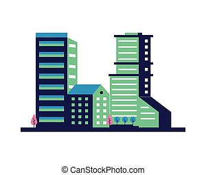 bâtiments, scène, constructions, arbres, ville