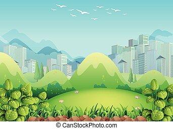 bâtiments, scène, fond, nature