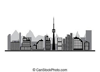 bâtiments, silhouette, cityscape.