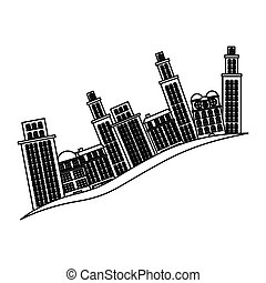 bâtiments, silhouette, scène, cityscape, côté, icône