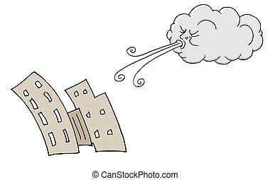 bâtiments, souffler, venteux, vent, jour, nuage