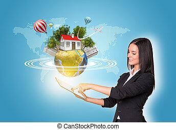 bâtiments, tablette, numérique, utilisation, la terre, femmes