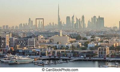bâtiments, timelapse, ruisseau, moderne, dubai, bateaux, coucher soleil, fond, front mer, pendant, bateau, paysage