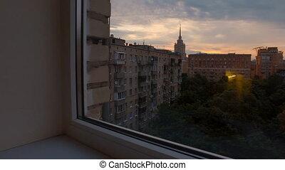 bâtiments, tribunal, moscou, haut-ascension, matin, tôt, vue
