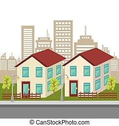 bâtiments, urbain, graphique