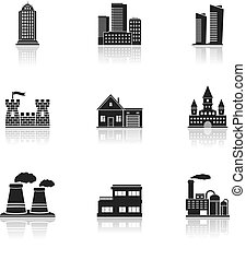 bâtiments, usines, icônes