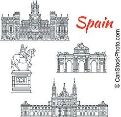 bâtiments, vecteur, architecture, espagne, icônes